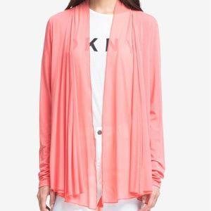 DKNY Draped Open Front Blazer Coral Cardigan Boho